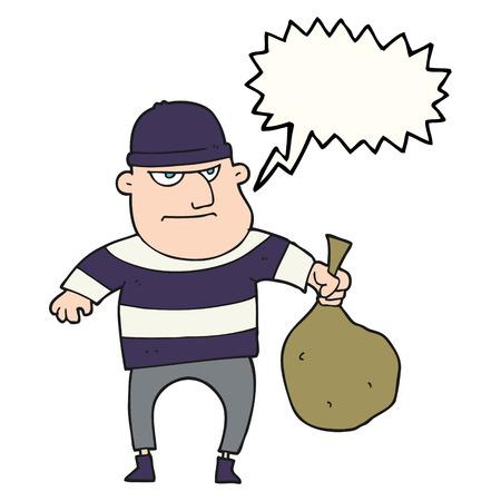 loot: freehand drawn speech bubble cartoon burglar with loot bag Illustration