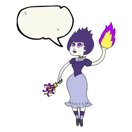 fireball: freehand drawn speech bubble cartoon vampire girl casting fireball