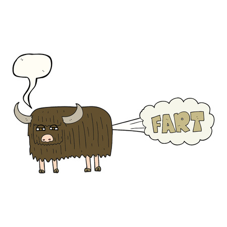 farting: freehand drawn speech bubble cartoon hairy cow farting Illustration