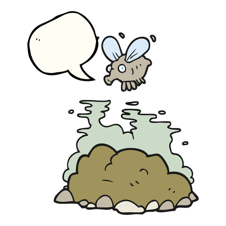 manure: freehand drawn speech bubble cartoon fly and manure