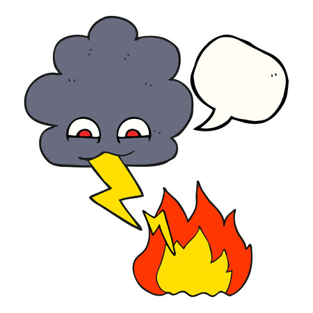 thundercloud: freehand drawn speech bubble cartoon thundercloud lightning strike