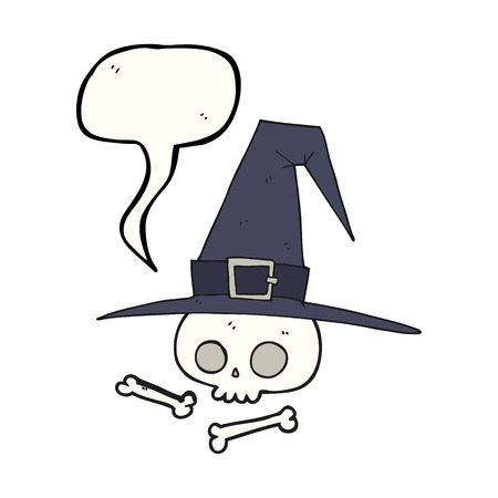 pointy hat: freehand drawn speech bubble cartoon witch hat with skull