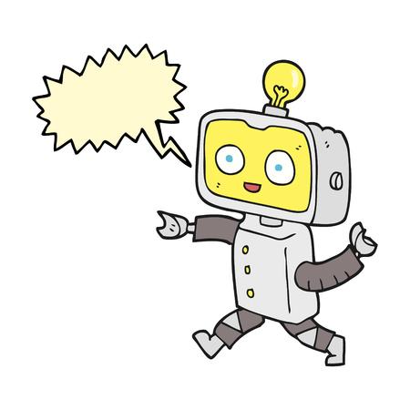 talking robot: freehand drawn speech bubble cartoon little robot