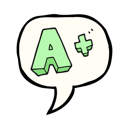 grade: freehand drawn speech bubble cartoon A grade symbol
