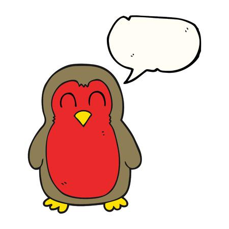 christmas robin: freehand drawn speech bubble cartoon christmas robin Illustration