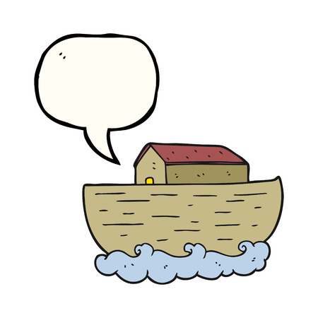 noahs: freehand drawn speech bubble cartoon noahs ark Illustration