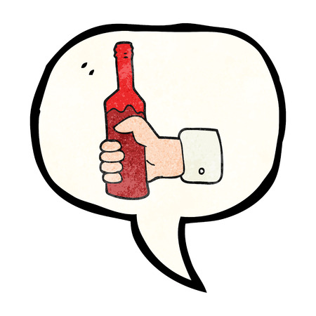 hand holding bottle: freehand speech bubble textured cartoon hand holding bottle of wine