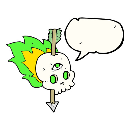 third eye: freehand drawn speech bubble cartoon magic skull with arrow through brain Illustration