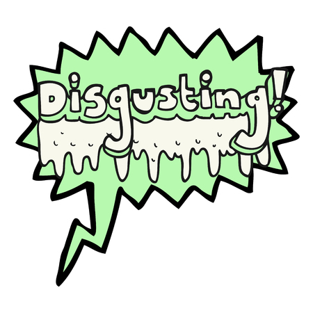 disgusting: freehand drawn speech bubble cartoon disgusting symbol