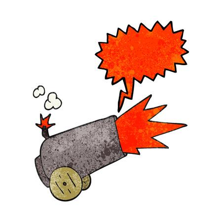 firing: freehand speech bubble textured cartoon cannon firing