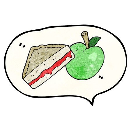 packed: freehand speech bubble textured cartoon packed lunch