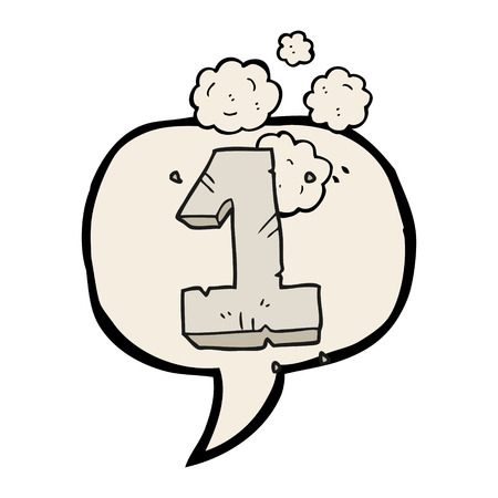 numbers clipart: freehand drawn speech bubble cartoon stone number one