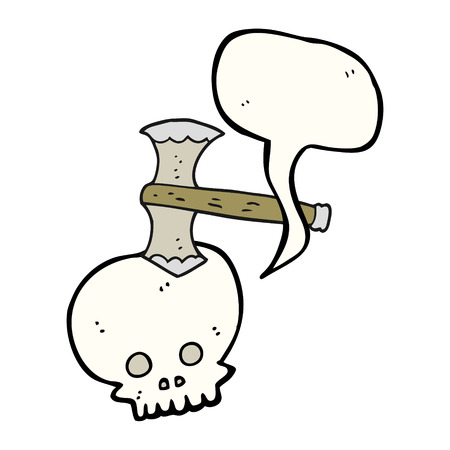 cartoon axe: freehand drawn speech bubble cartoon axe in skull