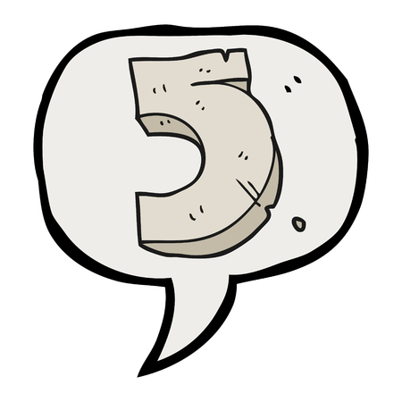numbers clipart: freehand drawn speech bubble cartoon stone number five