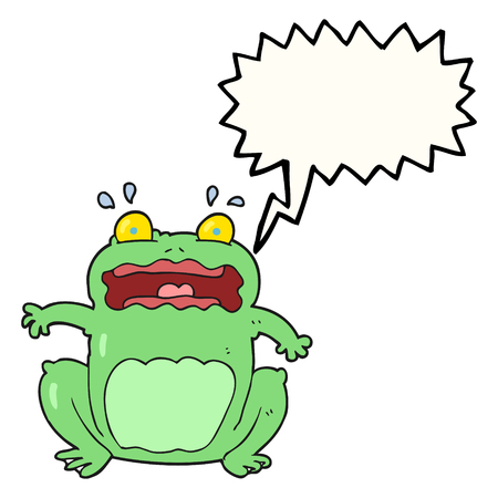 startled: freehand drawn speech bubble cartoon funny frightened frog