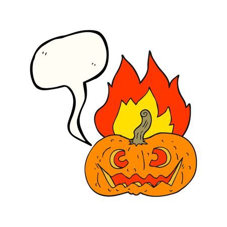 flaming: freehand drawn speech bubble cartoon flaming halloween pumpkin Illustration