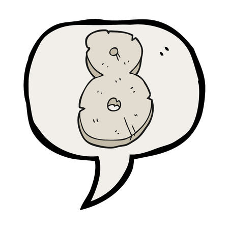 numbers clipart: freehand drawn speech bubble cartoon stone number eight