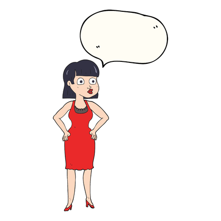 hands on hips: freehand drawn speech bubble cartoon woman in dress with hands on hips Illustration
