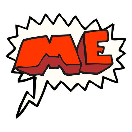 me: freehand drawn speech bubble cartoon ME symbol