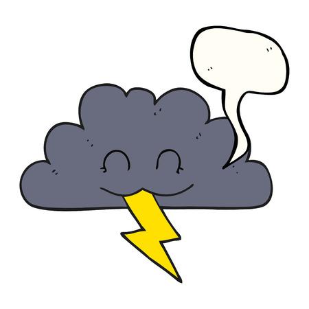 storm cloud: freehand drawn speech bubble cartoon storm cloud