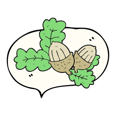 acorns: freehand drawn speech bubble cartoon acorns and leaves