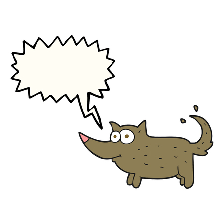 wagging: freehand drawn speech bubble cartoon dog wagging tail