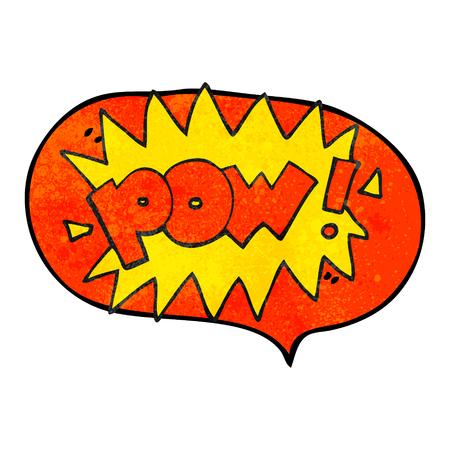 pow: freehand speech bubble textured cartoon pow symbol