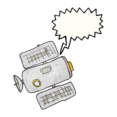 space station: freehand speech bubble textured cartoon space station Illustration