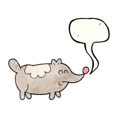 fat dog: freehand speech bubble textured cartoon small fat dog
