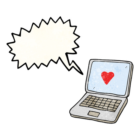 internet dating: freehand speech bubble textured cartoon laptop computer with heart symbol on screen Illustration