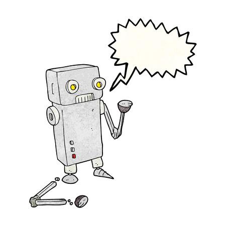 talking robot: freehand speech bubble textured cartoon broken robot Illustration