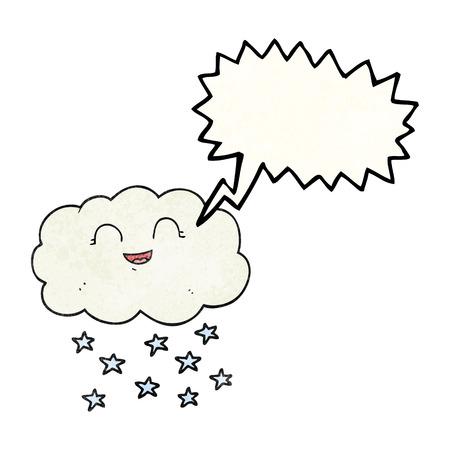 snowing: freehand speech bubble textured cartoon cloud snowing Illustration