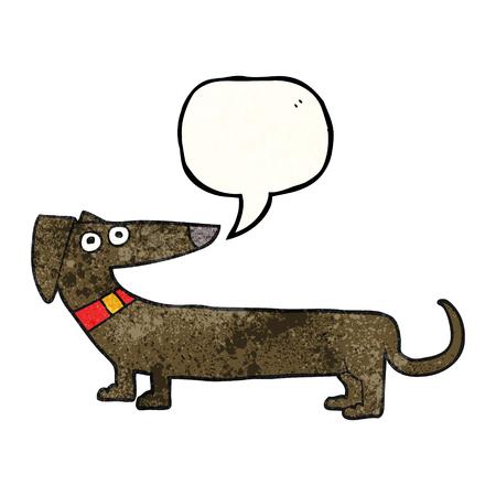 sausage dog: freehand speech bubble textured cartoon sausage dog