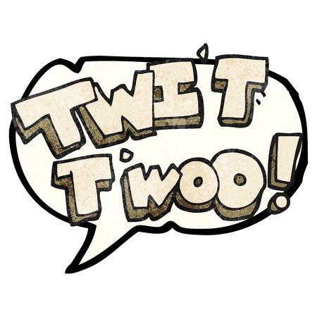 twit: freehand speech bubble textured cartoon twit two owl call text