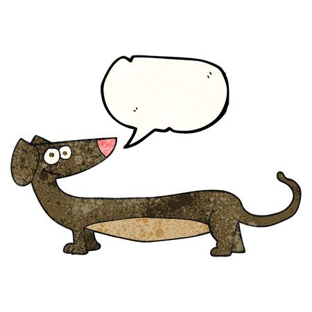 dachshund: freehand speech bubble textured cartoon dachshund Illustration