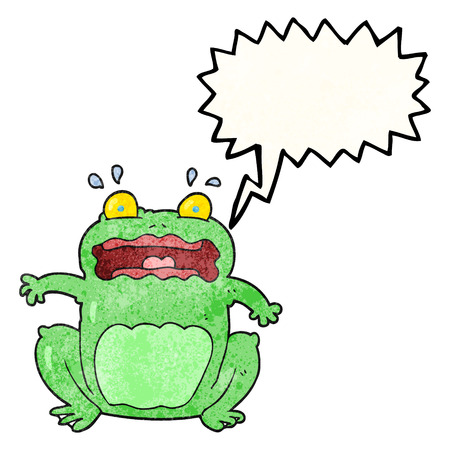 crazy frog: freehand speech bubble textured cartoon funny frightened frog Illustration