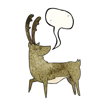 manly: freehand speech bubble textured cartoon manly stag