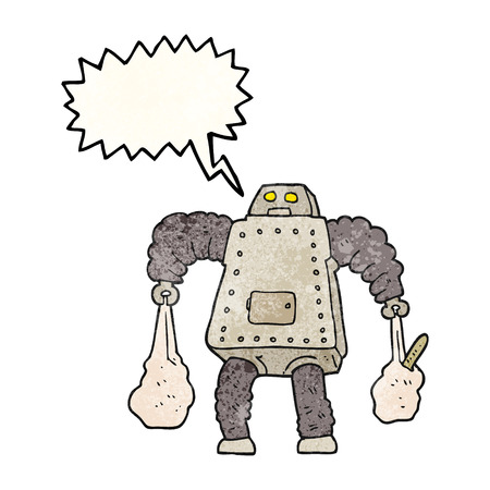 carrying: freehand speech bubble textured cartoon robot carrying shopping Illustration