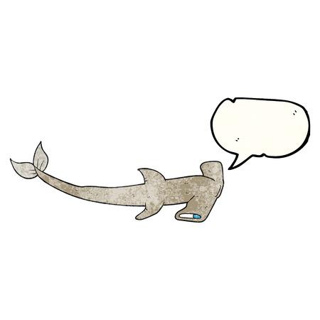 pez martillo: la burbuja del discurso a mano alzada de dibujos animados con textura tiburón martillo Vectores