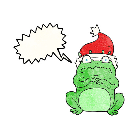 christmas frog: freehand speech bubble textured cartoon frog in christmas hat