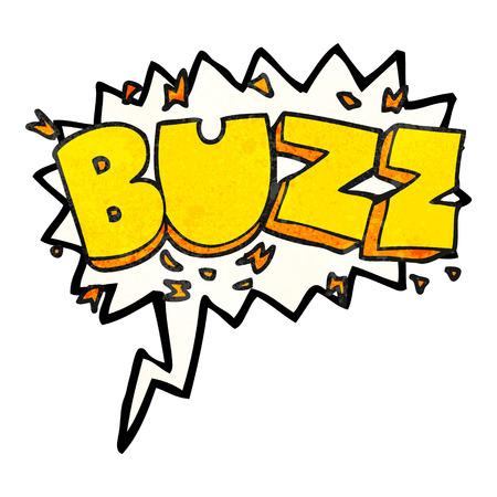 freehand speech bubble textured cartoon buzz symbol Illustration