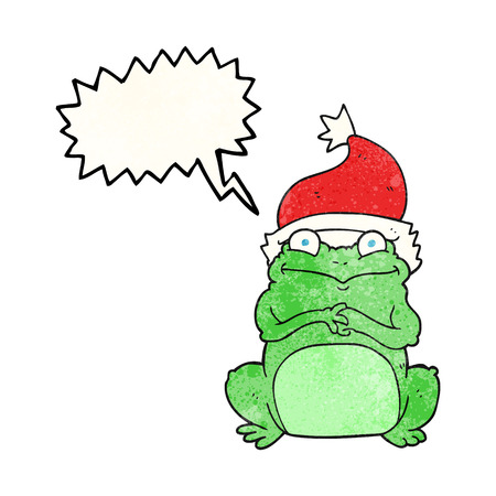 christmas frog: freehand speech bubble textured cartoon frog wearing christmas hat