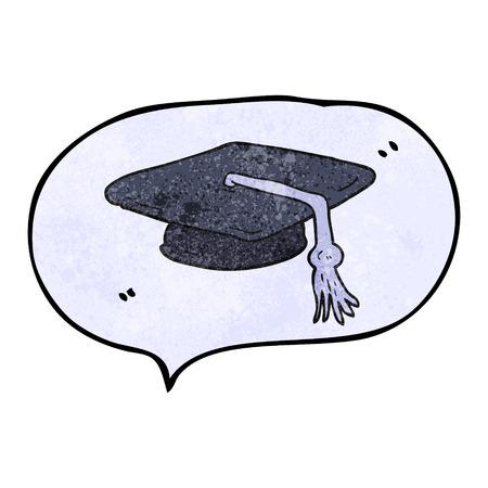 graduacion caricatura: a mano alzada la burbuja del discurso casquillo de la graduaci�n de la historieta con textura