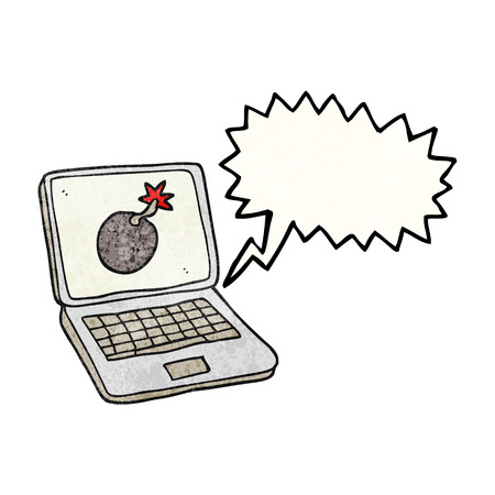 laptop screen: freehand speech bubble textured cartoon laptop computer with error screen
