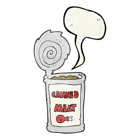 tinned: freehand speech bubble textured cartoon canned meat