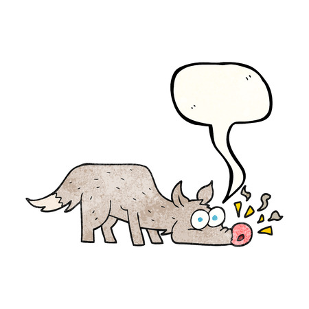 sniffing: freehand speech bubble textured cartoon dog sniffing