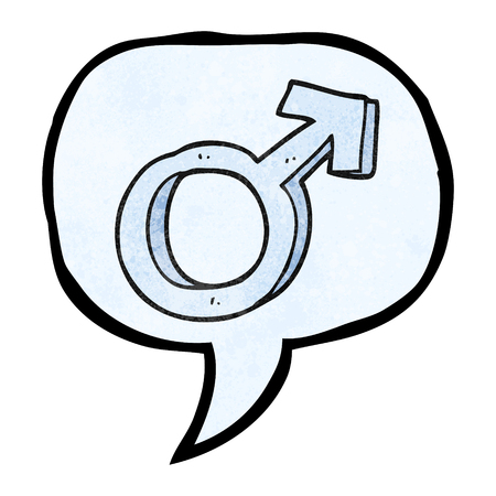 male symbol: freehand speech bubble textured cartoon male symbol