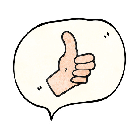 thumbs up sign: freehand speech bubble textured cartoon thumbs up sign