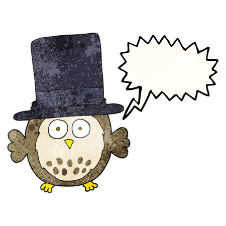 top hat cartoon: freehand speech bubble textured cartoon owl wearing top hat