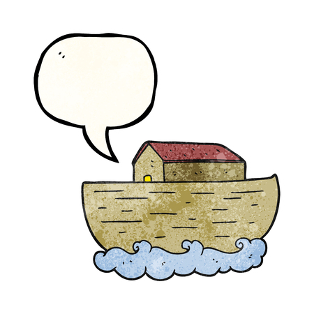 noahs: freehand speech bubble textured cartoon noahs ark Illustration